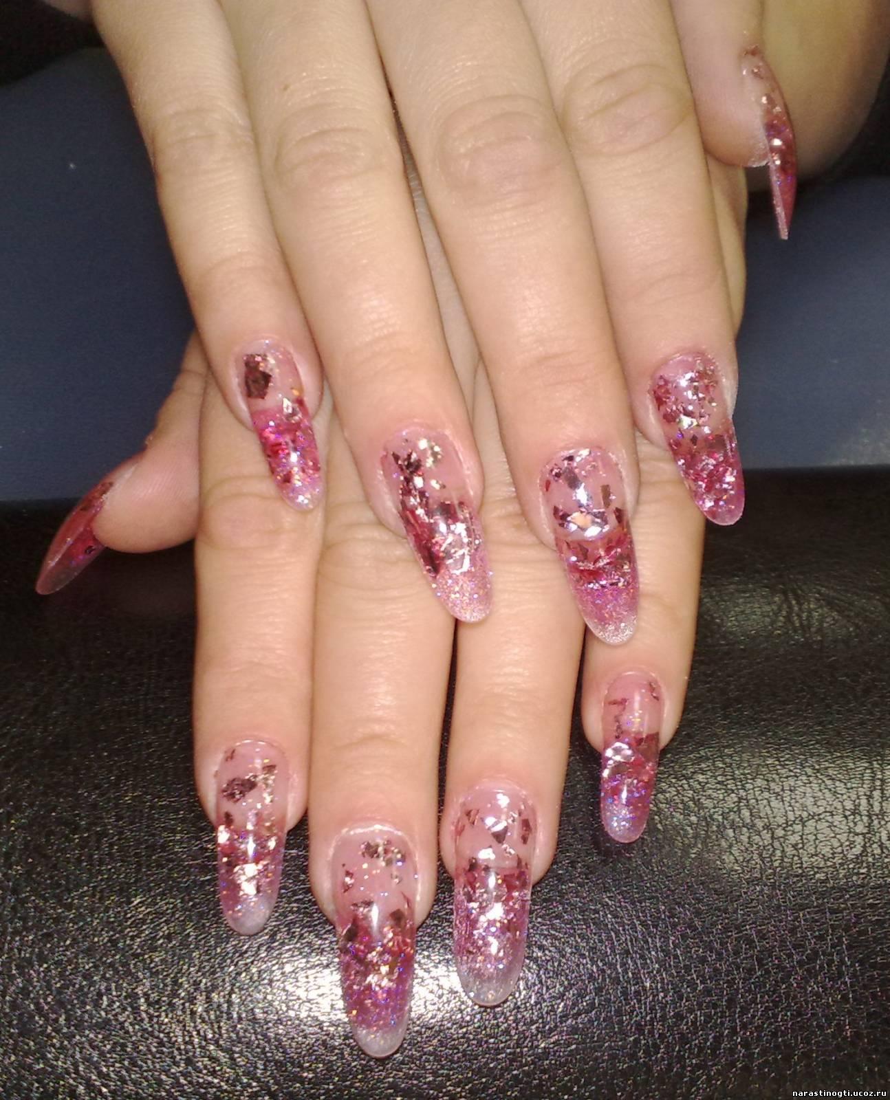 Фото нарощенных ногтей акрилом или гелем
